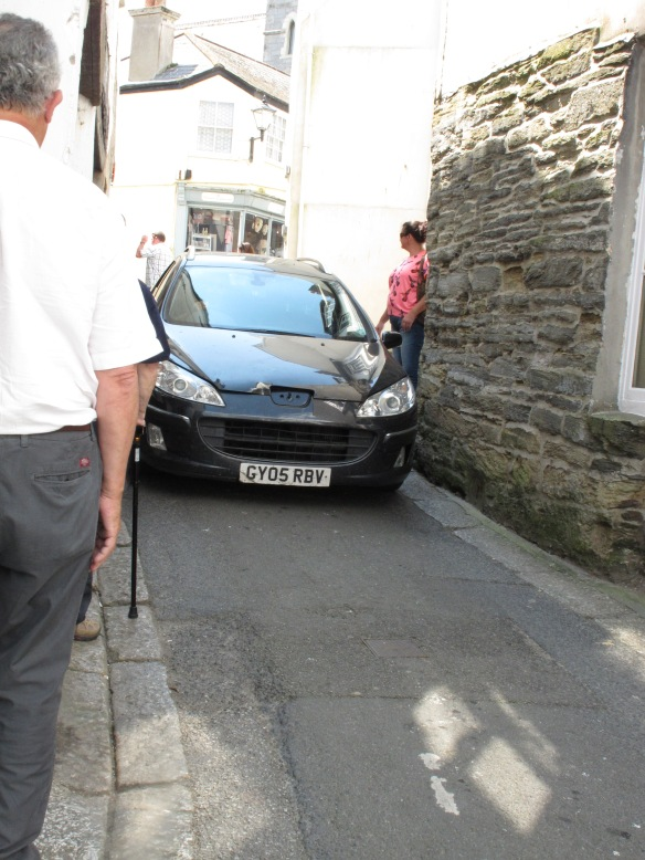 A narrow street in Fowey, Cornwall.