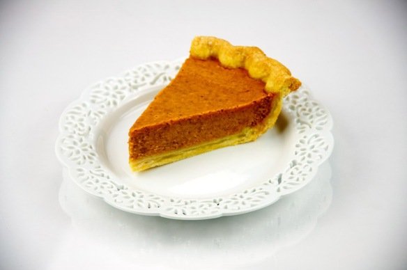 Pumpkin pie--with a neater crust than I make. Photo by the Culinary Geek from Chicago, courtesy of WikiMedia