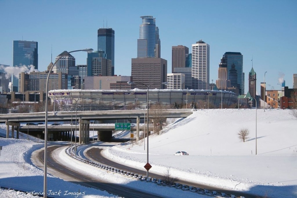 Minneapolis after a 15-inch storm in 2010. The Metrodome roof collapsed under the weight of the snow. Again.