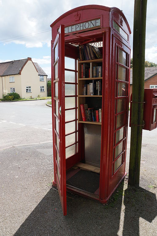 Relevant photo for a change: a phone box library at Wall, Staffordshire. Photo by Oosoom.