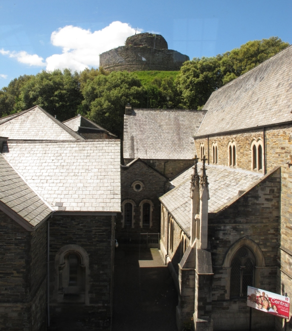 Irrelevant photo: Launceston Castle, with a church in the foreground