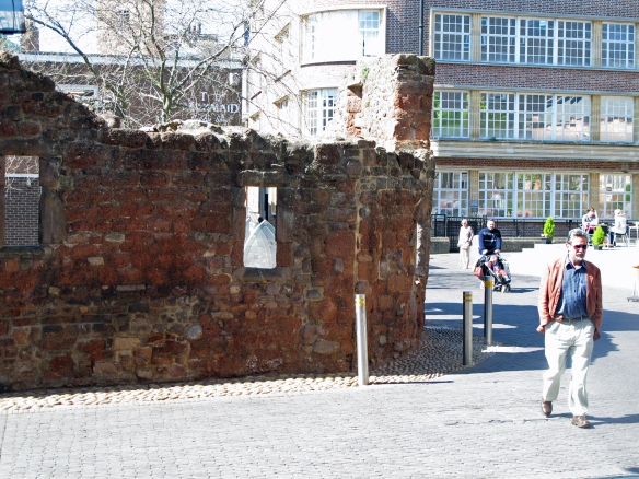 Remains of a church, destroyed in the bombing of Exeter city center, now preserved as a monument.