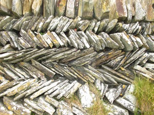 Dry stone wall. The pattern's called curzyway in some places and jack and jill in others.