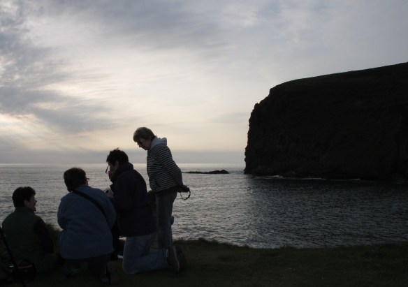 Irrelevant photo. Four people. Evening. The cliffs.