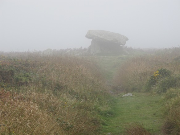 Irrelevant photo: Chun Quoit in the fog. This is an ancient monument near Penzance. No one knows what it purpose was, but it looks a lot like a giant stone ironing board.