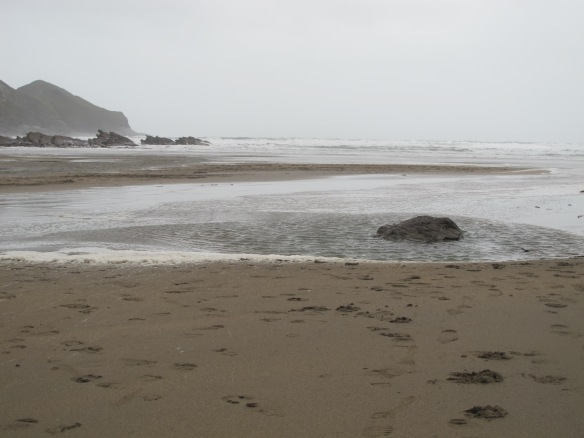 Irrelevant photo: The beach in a storm. The wind was high enough that I had  stop walking during the gusts.